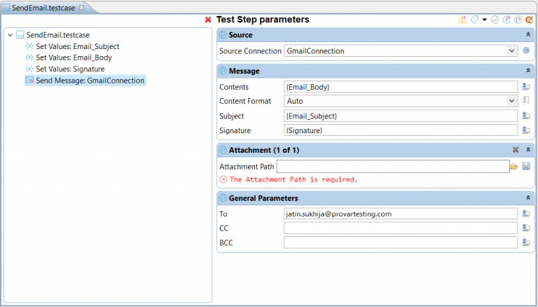 Image showing how to populate the parameters to send a mail from this account