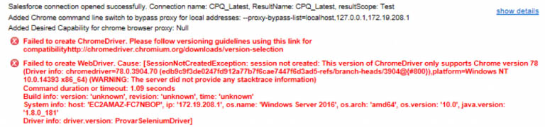 Image showing an example of the failed to create ChromeDriver error message