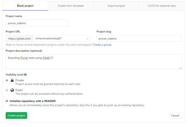 GitLab visibility screen
