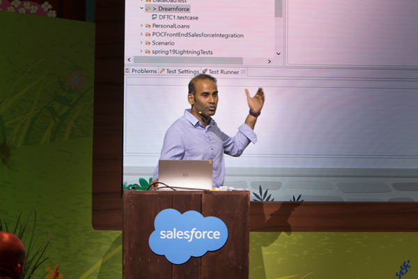 Chandra Alahari introducing Canada Drives at Dreamforce 2019.