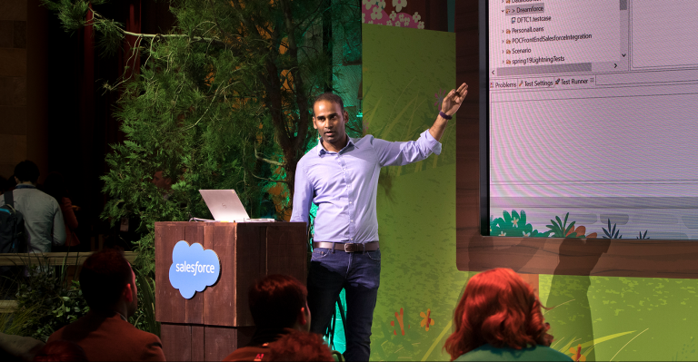 Chandra Alahari of Canada Drives presenting at Dreamforce 2019.