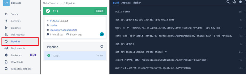 Image showing the Bitbucket Pipelines running