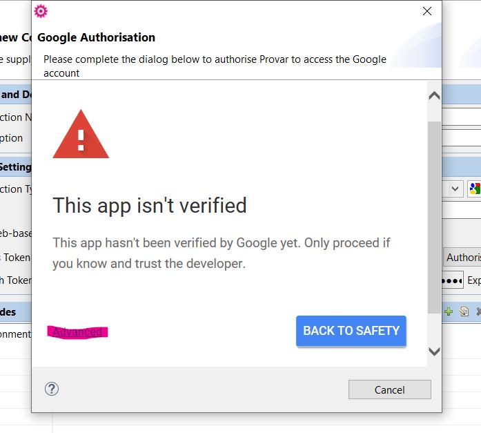 This app isn't verified warning