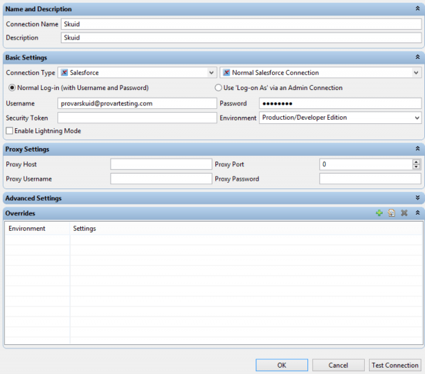 Image shows adding a Salesforce Connection in Provar to enable Skuid testing.