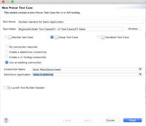 Image showing how to create a connection for a new setup test case