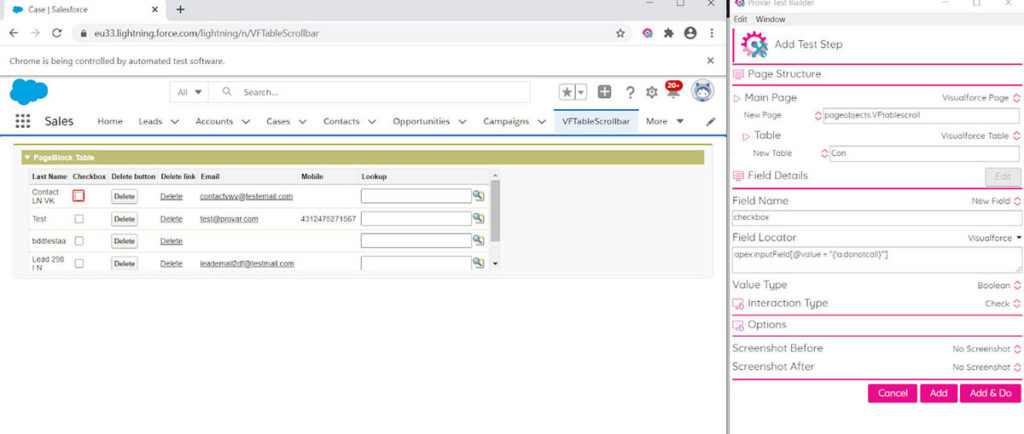 Image showing how to map the fields from the Visualforce page