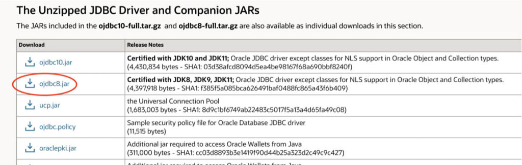 Image showing how to choose the Oracle version to connect and downloading it