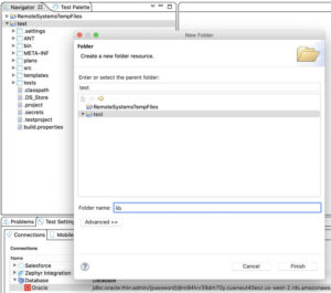 Image showing how to create a lib folder during the installation of Oracle drivers
