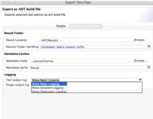 Image showing a View of the updatedExport as ANT build filedialog box