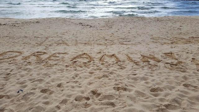 Tahoe Dreamin' written in sand