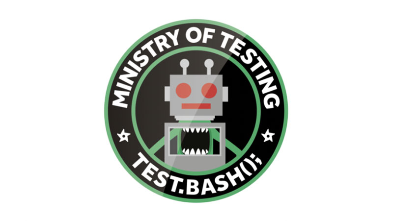 """Robot in a ministry of testing logo with """"Test.bash(); 2021 written at the bottom"""